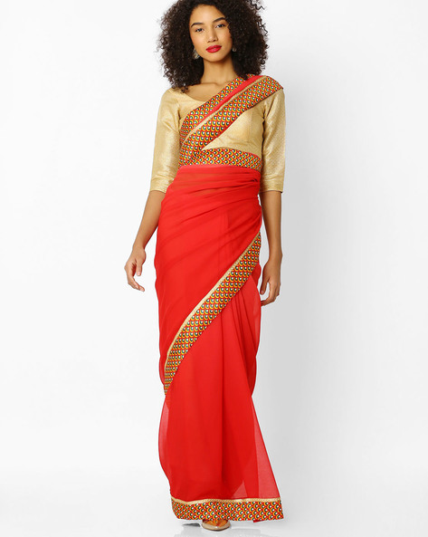 Printed Khadi Silk Saree With Blouse By Florence ( Red )