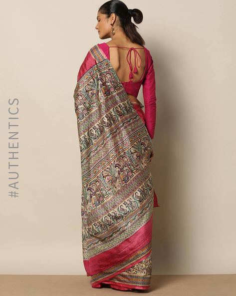Madhubani Print Pure Silk Saree By Rudrakaashe-MSU ( Pink )