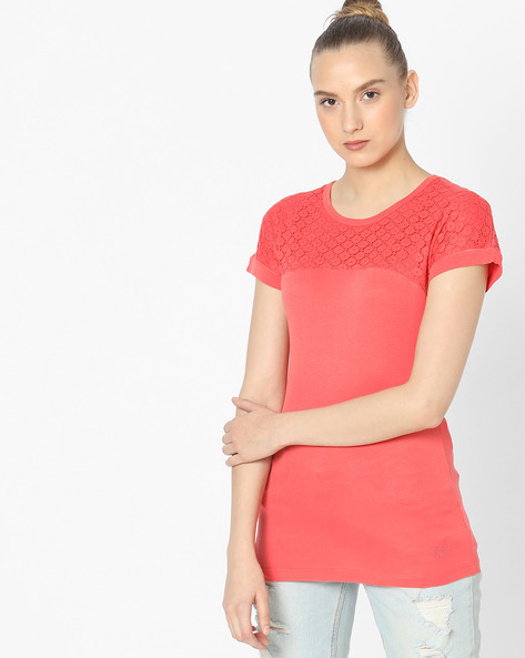 Cotton T-shirt With Lace Yoke By WRANGLER ( Coral )