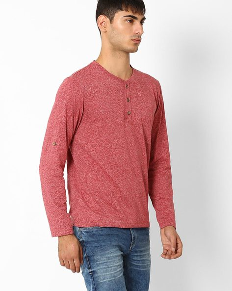 Cotton Henley T-shirt By FLYING MACHINE ( Assorted )