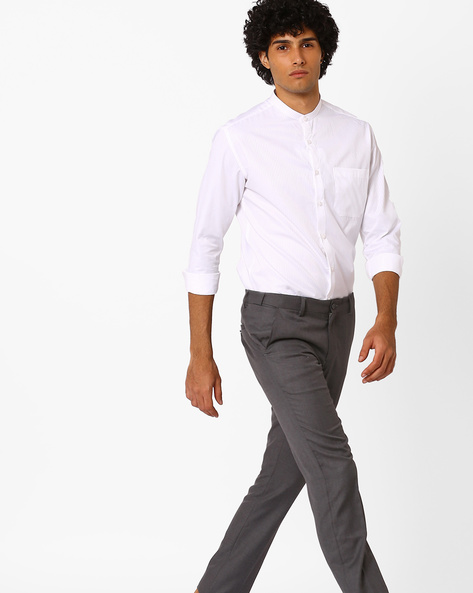 Slim Fit Self-Striped Formal Shirt By British Club ( White )