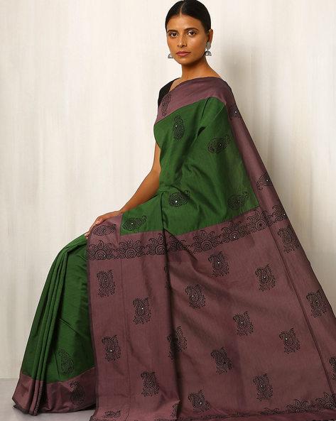 Handblock Print Saree With Contrast Pallu By Indie Picks ( Darkgreen )