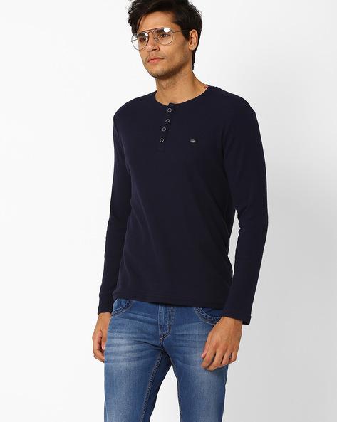 Slub Knit Henley T-shirt By SIN ( Navy )