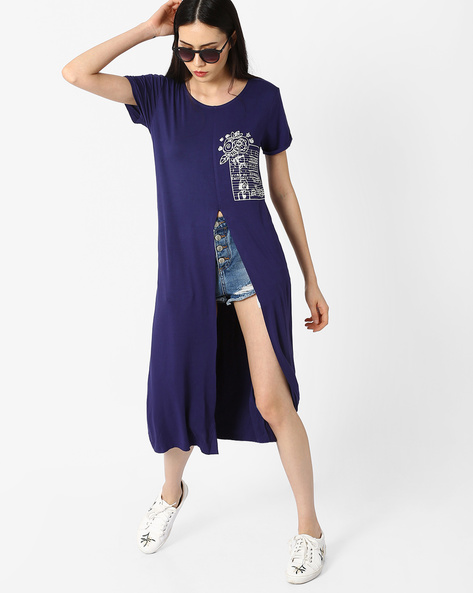 Maxi Top With Front Slit By AJIO ( Blue )