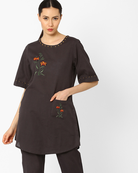 Embroidered Kurta With Curved Hem By AJIO ( Charcoal )