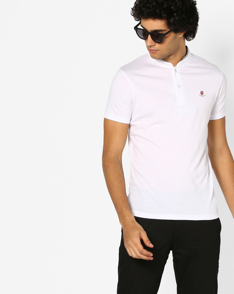 Cotton T-shirt With Mandarin Collar By The Indian Garage Co ( White )