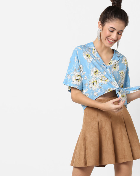 Floral Print Crop Shirt With Tie-Up By AJIO ( Blue )