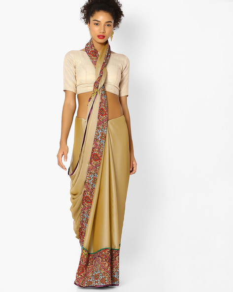 Chiffon Saree With Printed Border By Vastrangi ( Beige ) - 460108463001