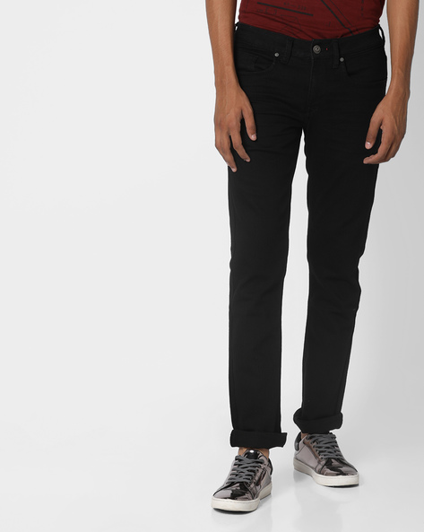 Mid-Rise Slim Tapered Michael Jeans By FLYING MACHINE ( Black )