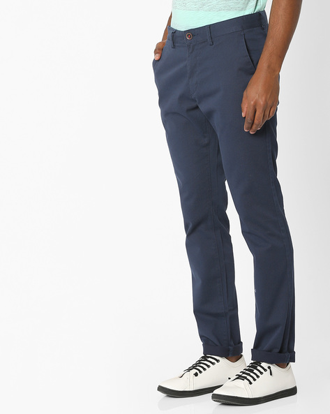 Tapered Fit Textured Chinos By NETPLAY ( Navy )