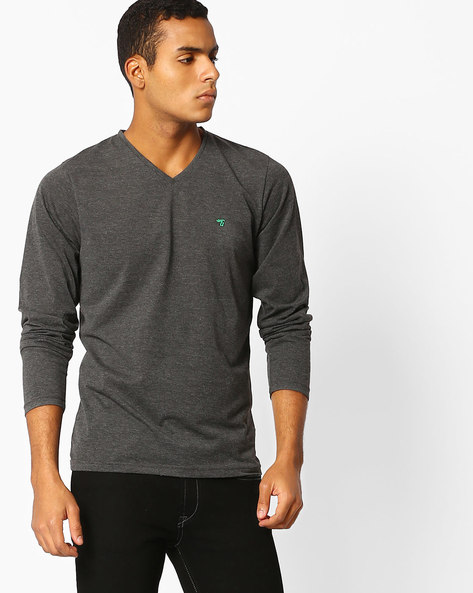 V-neck T-shirt With Full Sleeves By The Indian Garage Co ( Lightgrey )