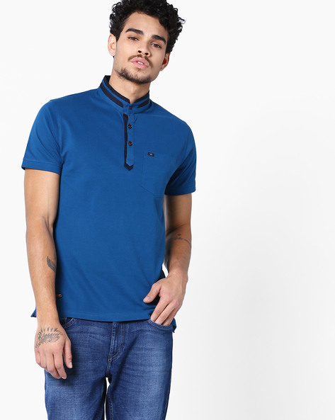 Polo T-Shirt With Band Collar By Fort Collins ( Blue )