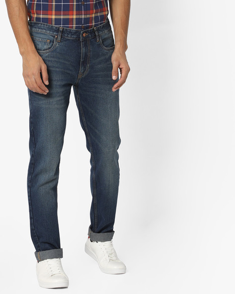 Lightly Washed Slim Fit Jeans By AJIO ( Blue ) - 460130555001