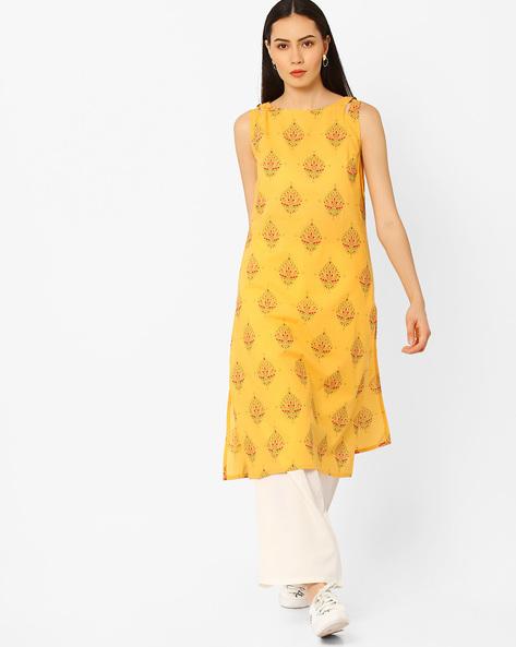 Printed Sleeveless Kurta By AJIO ( Mustard )