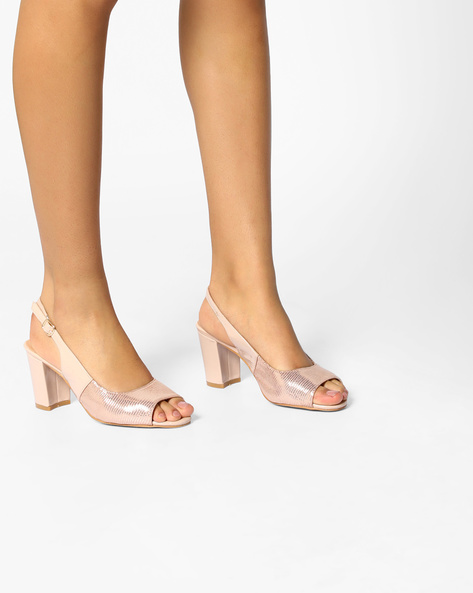 Textured Heeled Sandals By Carlton London ( Pink )