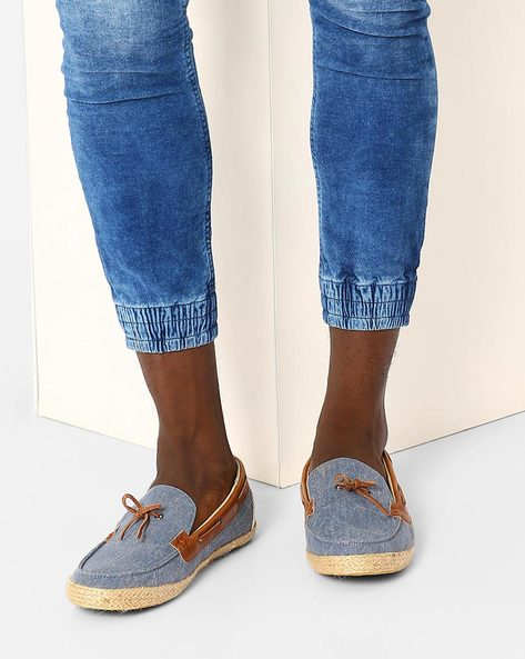 Fabric Espadrilles With Boat Shoe-Styling By FAMOZI ( Blue )