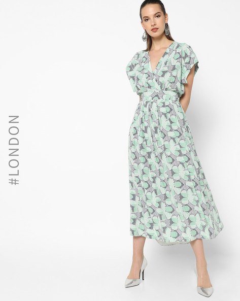 Floral Print Wrap Midi Dress By Closet London ( Multi )