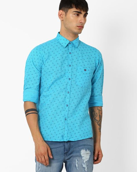 Printed Slim Fit Shirt By CRIMSOUNE CLUB ( Turquoise )