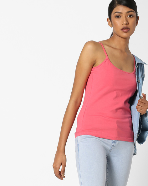 Camisole Top With Adjustable Straps By DNMX ( Pink )