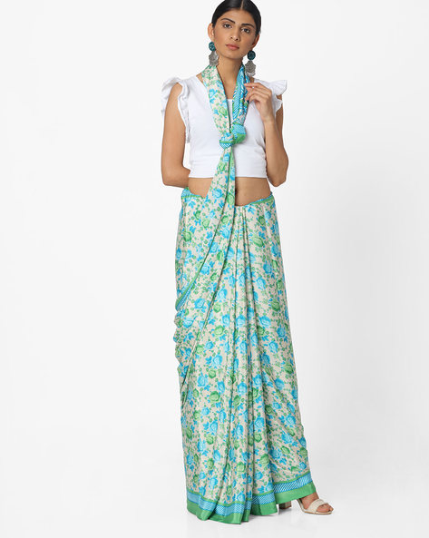 Printed Crepe Saree By Majestic Silk ( Blue )