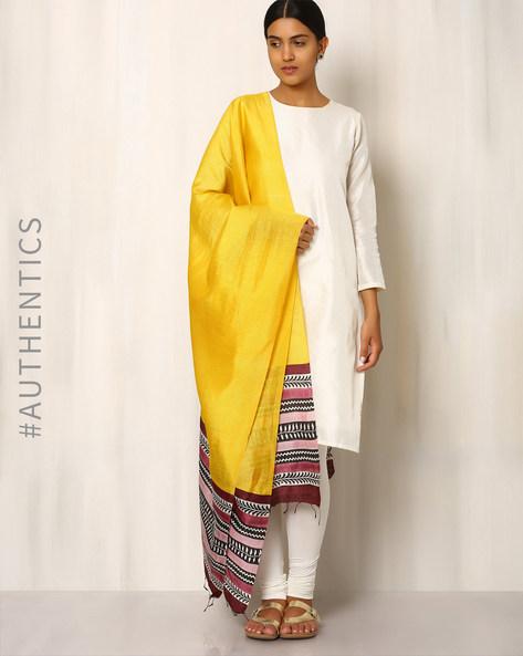 Handwoven Pure Kosa Silk Print Dupatta By Indie Picks ( Yellow )