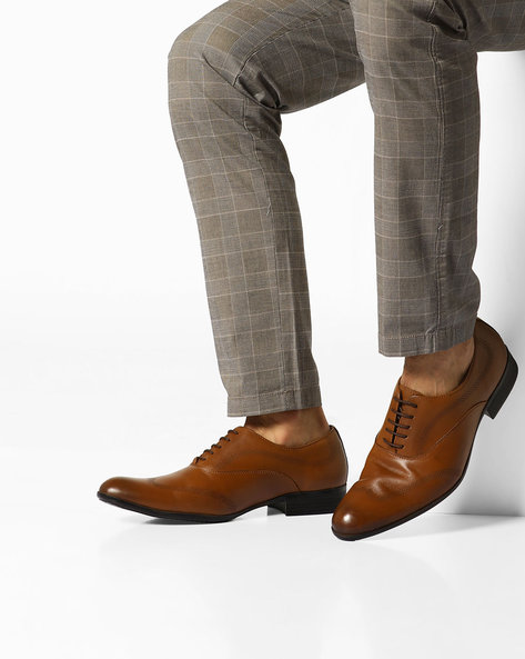 Genuine Leather Lace-Up Oxfords By ESCARO ( Tan )