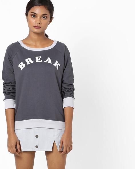 Sweatshirt With Raglan Sleeves By Blue Saint ( Grey )