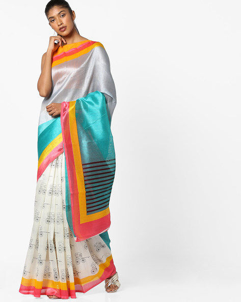 Printed Saree With Contrast Border By Florence ( Cream )