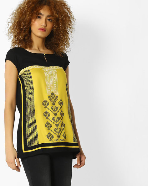 Pixelated Print Top With Cap Sleeves By W ( Yellow )