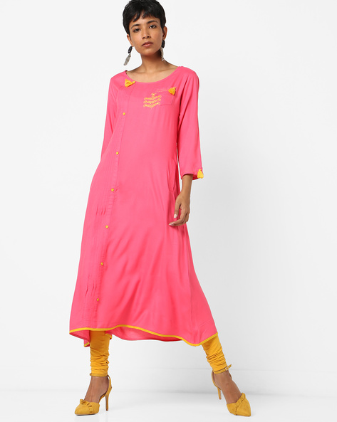 Straight Kurta With Tassel Detail By Melange By Lifestyle ( Pink )