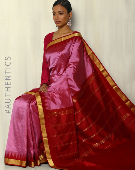 Pure Silk Bangalore Saree With Kadiyal Temple Border By Pretty Woman ( Purple )