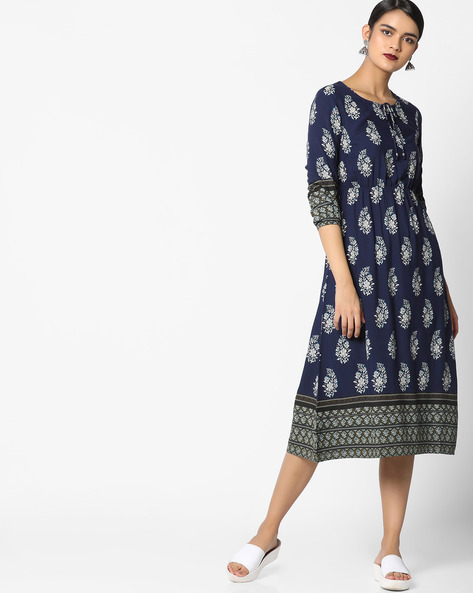 Printed A-line Midi Dress By AJIO ( Blue )