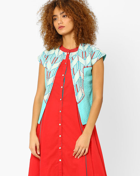 Printed Open-Front Jacket By AJIO ( Aqua )
