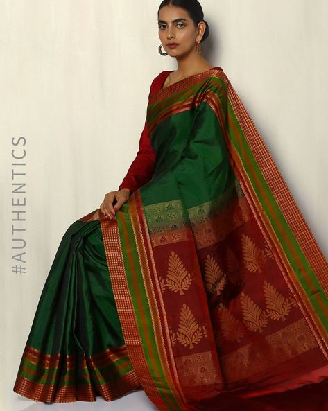 Handloom Arani  Pure Silk Saree With Woven Border By Pretty Woman ( Green )