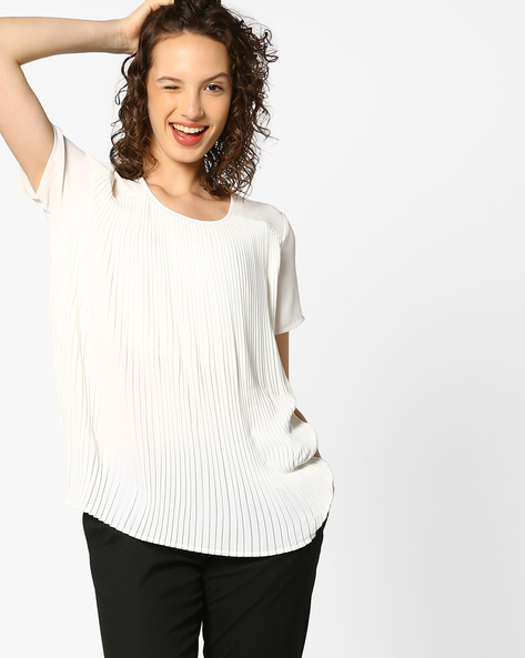 Panelled Top With Knife Pleats By PE WW Evening ( Offwhite )