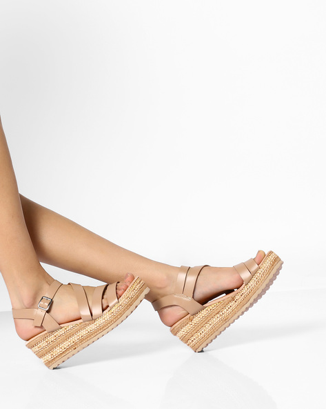 Espadrille Wedge Heel Sandals By AJIO ( Beige )