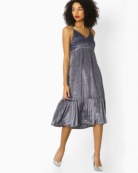 A-line Dress With Adjustable Straps By Rena Love ( Grey )