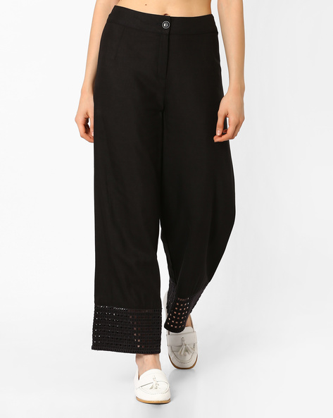 Palazzo Pants With Cutout Hems By Global Desi ( Black )