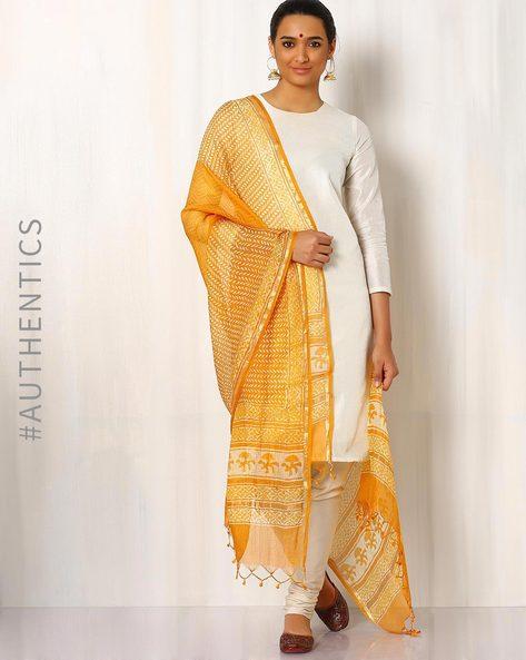 Bagru Print Kota Pure Silk Dupatta By Indie Picks ( Mustard ) - 460016820001
