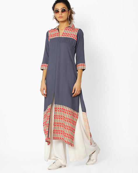 Printed Straight Kurta With Slit Hem By Libas ( Grey )