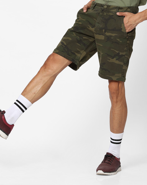 Slim Fit Camouflage Print Shorts By Blue Saint ( Olive )
