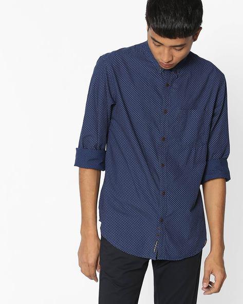 Printed Slim Fit Shirt By INDIAN TERRAIN ( Indigo )