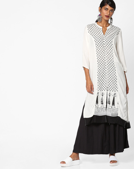 Printed Straight Kurta With Mandarin Collar By ARSHI ( Offwhite )