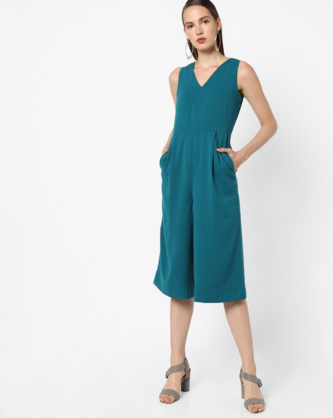 Jumpsuit With Pockets By AJIO ( Teal )