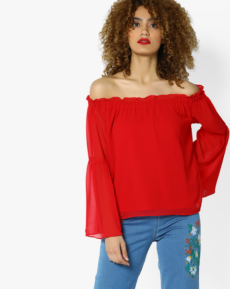 Off-Shoulder Top With Ruffle Detail By AJIO ( Red )