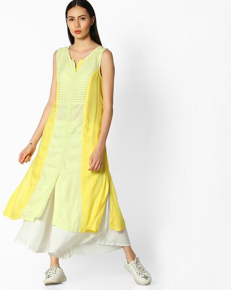 Sleeveless Kurta With Contrast Panel By AVAASA MIX N' MATCH ( Yellow )