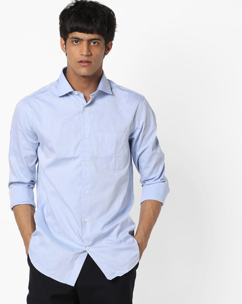 Checked Shirt With Patch Pocket By US POLO ( Blue )