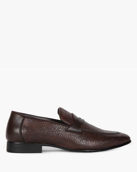 Textured Formal Slip-Ons With Stacked Heels By STELVIO ( Brown )