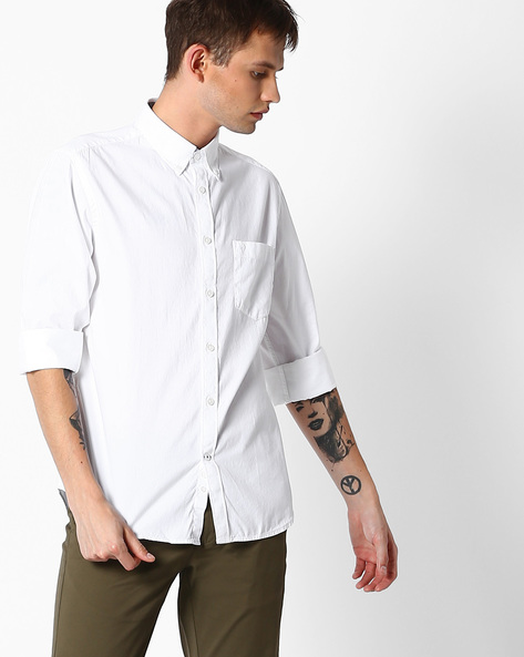 Regular Fit Shirt With Button-Down Collar By INDIAN TERRAIN ( White )