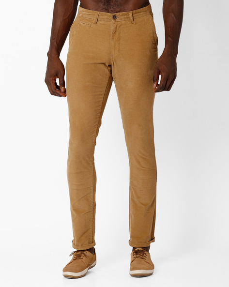 Mid-Rise Tapered Fit Chinos By NETPLAY ( Khaki )